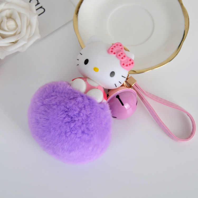 Pom Pom Anime Keychain Dos Desenhos Animados Olá Kitty Keychain Titular do Anel Chave de Cadeia Saco Das Mulheres de Pele de Coelho Fofo Charme Carro Pompom chaveiro