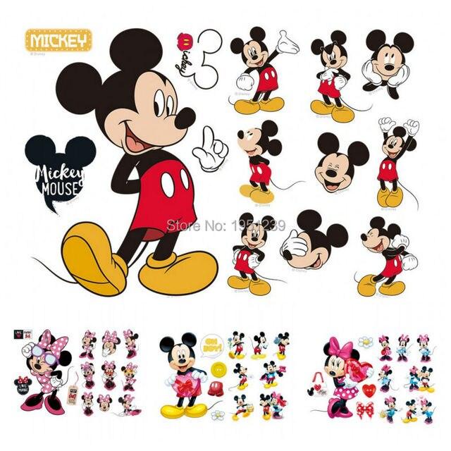 Hot Sale Mickey Mouse Minnie Mouse Bathroom Decoration Cartoon Cute Glass  Wall Stickers Kids Nursery Room