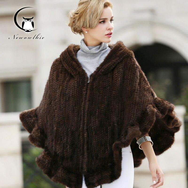 2016 Mink Coats Winter Women Real Fur Coat Fashion Women's Long Mink Fur Cape Coat Hooded Cloak Mantle Outwear Femme Coat Kacket
