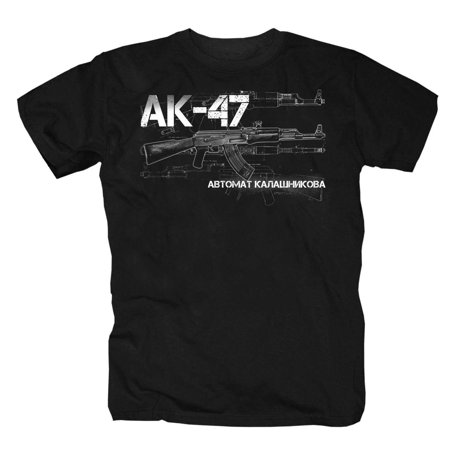 Printed Tees Male Harajuku Top Fitness Brand Clothing Shirt T-shirt Ak-47 AK47 Kalaschnikow Glock Sturmgewehr Uzi Fun Tee Shirt