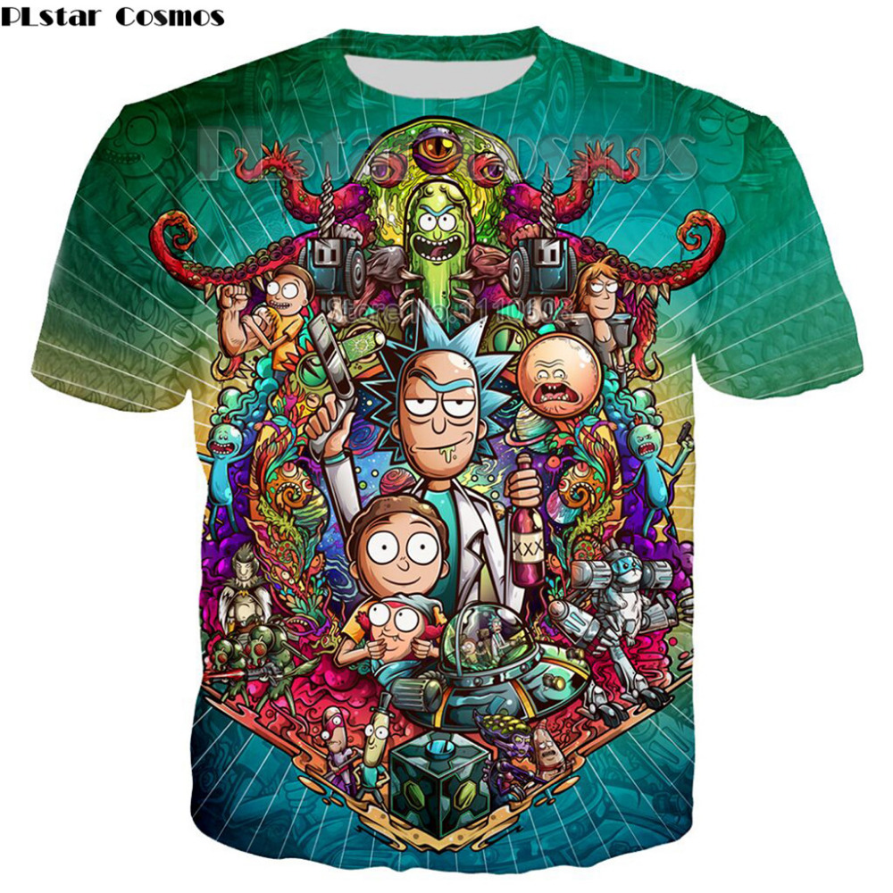 Newest Cool Rick Morty men women  t shirt  Summer Anime T-shirts rick and morty worlds folk colorful Fitness Cartoon tee shirt