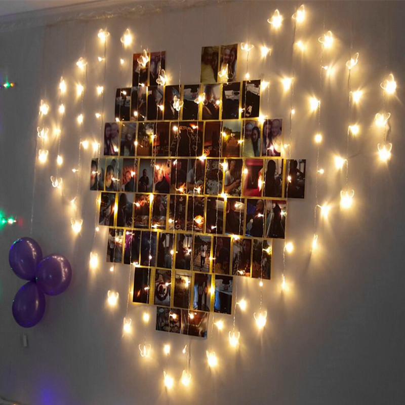 2*1.6M 110V/220V Love Heart LED String Light Holiday Lights Butterfly Curtain Light 8Modes for Valentines Day Wedding Christmas ...