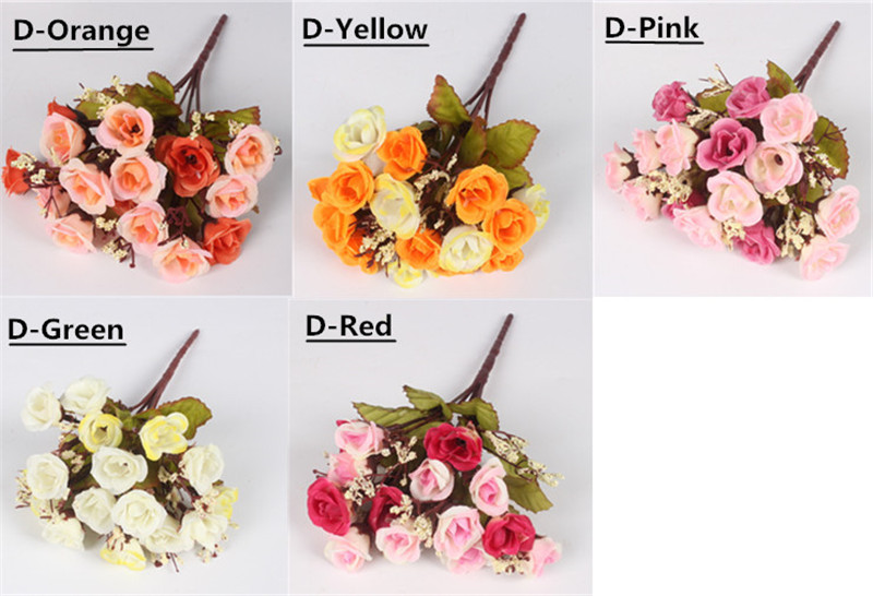 Autumn 15 Heads Silk Roses Bract Artificial Flower For Wedding And Christmas Decor 11