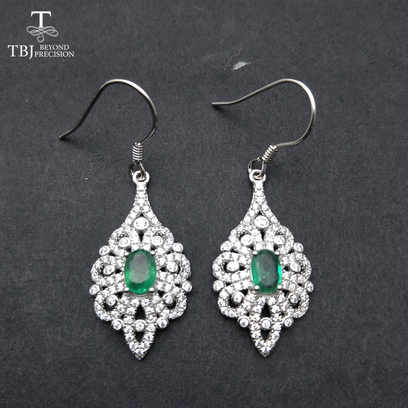 TBJ,New Classic Natural Green Emerald hook earring in 925 sterling silver gemstone fine jewelry for Party  with gift box
