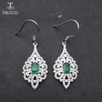TBJ,New Classic Natural Green Emerald hook earring in 925 sterling silver gemstone fine jewelry for Party  with gift box - DISCOUNT ITEM  10% OFF All Category