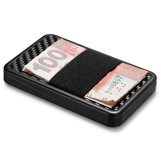 Sliding Card Holder Slim Carbon Fiber RFID Blocking Card Case