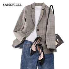 2019 New  Spring  Full Sleeve Plaid Single Breasted Notched collar Appliques Casual fashion women Blazers L-4XL