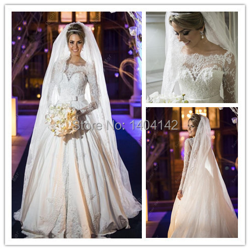 Elegant Court Train Lace Ball Gown Arabic Dubai Wedding Dresses Long ...