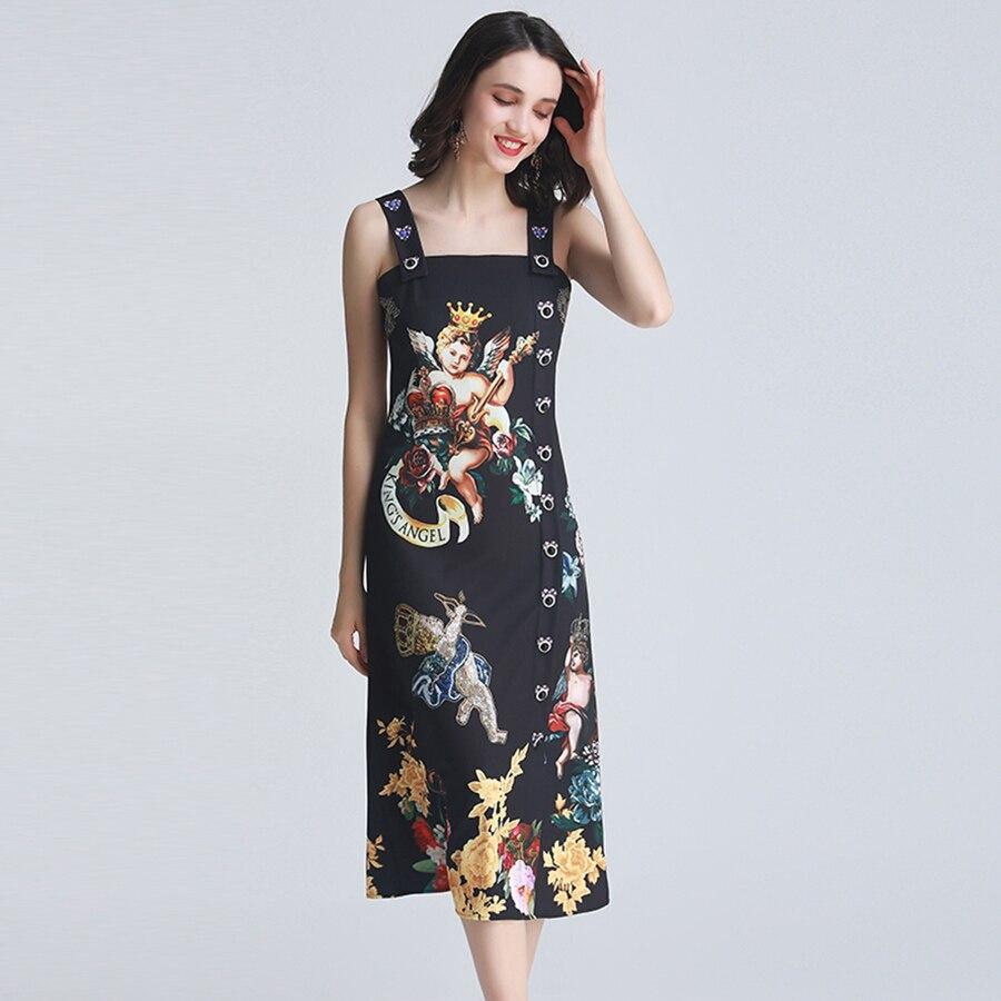 VERDEJULIAY Sleeveless Printed Dresses 2019 Summer Runway Dress Backless Angel Printed Crystal Button Black Midi dress