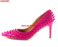New Women Pumps Pointed Toe High Heels Shoes Luxury Designer Red Rivets Shoes Wedding Bridal Shoes Women's Shoes Stilettos Heels