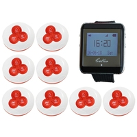 1 Watch Pager Receiver+8 Call Button 433MHz Wireless Restaurant Calling System Nurse Waiter Call Pager System|buttons buttons|button wireless|receiver 433mhz -