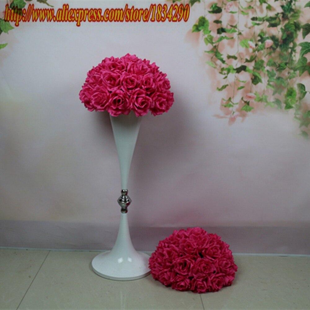 Popular fuschia wedding flowers buy cheap fuschia wedding flowers new 20cm10pcslot plumfuschia hanging flower ball centerpieces silk rose wedding dhlflorist Gallery