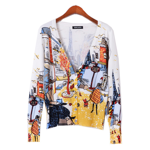 Envío gratis 2017 modelos de Explosión! primavera versión Coreana del Delgado mujeres chaqueta de punto de impresión mujeres chaqueta chaqueta de punto