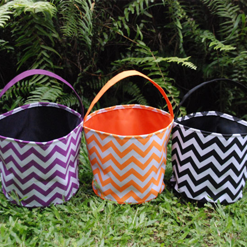 Wholesale Chevron Halloween Buckets Tote Bag Halloween Supplies trick or treat Bag Candy BagDOM103171 missoni for target travel tote colore chevron pattern