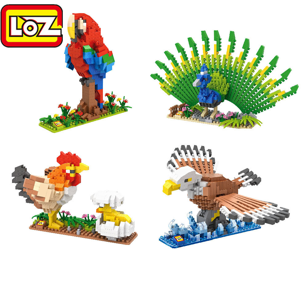 цены LOZ Diamond Block Birds C-3PO R2-D2 Hen Chicks Peacock Eagle Parrot Animal Micro Blocks 3D Educational Building Block Toys 9544