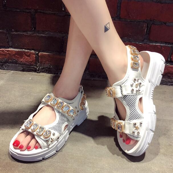 Fashion Rhinestone Women Sandals Brand Design 2019 Summer Crystal Shoes Woman flat Platform Open Toe Sandalias Mujer