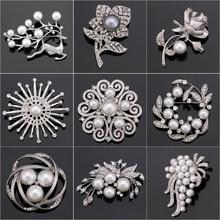 Прямая с фабрики, стразы и имитация жемчуга, модный цветок, лист и брошь «олень», булавки для женщин, различные дизайны