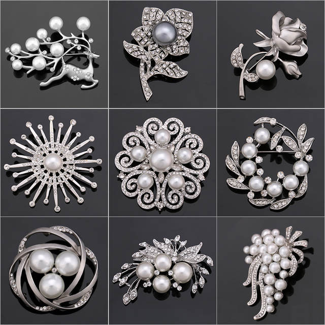 Factory Direct Sale Crystal Diamante & Imitation Pearl Fashion Flower Leaf and D