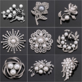Factory Direct Sale Crystal Diamante & Imitation Pearl Fashion Flower Leaf and Deer Brooch Pins for Women in Assorted Designs
