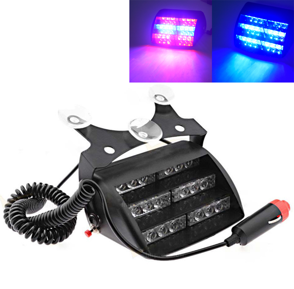 18 LED Red/Blue Car Police Strobe Flash Light Three layers Strobe light Dash Emergency Warning 3 Flashing Fog Lights 4 Style 360 degree rotation demo 4 led red blue police car light for 1 10 r c car red white blue