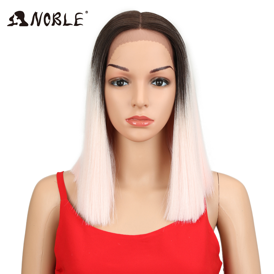 Noble 14Inch Short Straight Wigs For Women Synthetic Ombre Lace Front Wig Pink Black Middle Part Space Bob Shoulder Length Hair