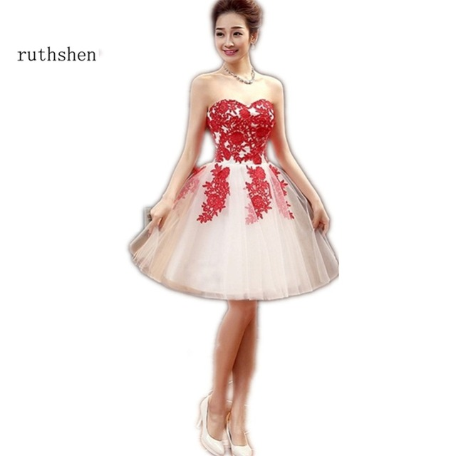 ruthshen Short Homecoming Dresses Sweetheart Red Lace Appliques ...