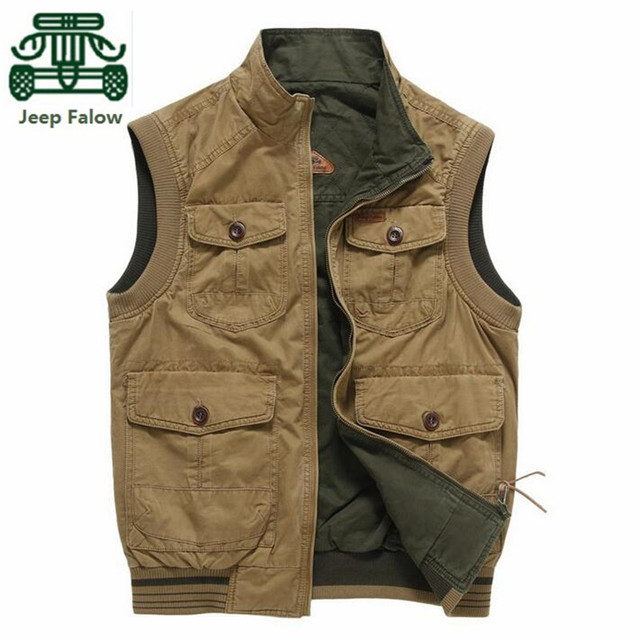 AFS JEEP Falow Two Side Men's Cotton stand collar Working Vest,Sleeveless Cotton Jacket,2015 Spring Casual Cardigan Overall Vest