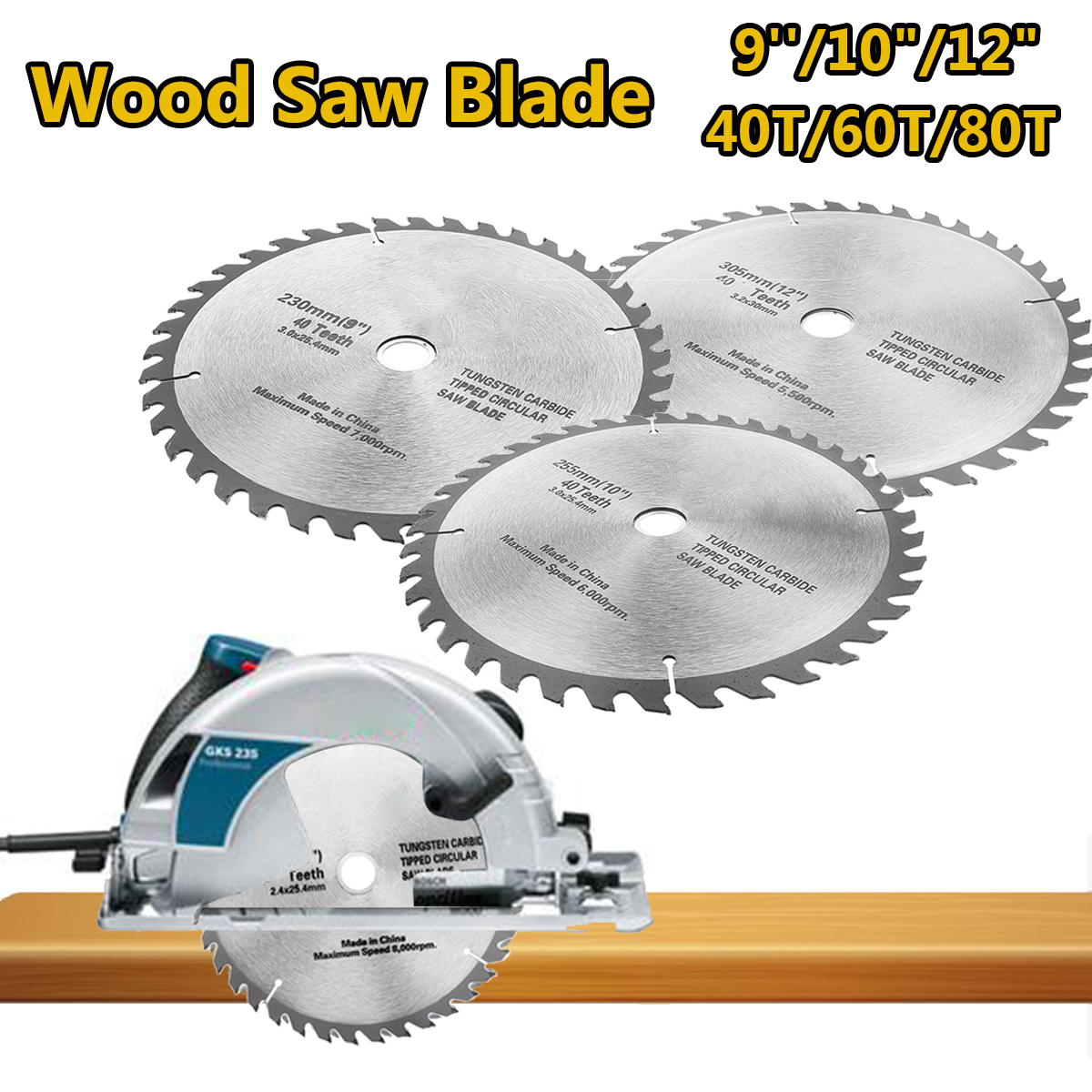 9/10/12 Inch 40/80 Teeth Multifunctional Saw Blades for Wood Cutting Circular Saw Blade Cut Acrylic Plastic Wood 6 60 teeth 140mm carbide saw blade for cutting polycarbonate plexiglass perspex acrylic professional 15 degree ab teeth