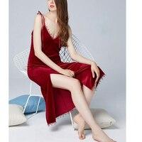 Women Sexy Lingerie Nightgown Lingerie Fashion Patchwork Nightdress Women Satin velvet Nightwear velvet Slip Sleepwear Chemises