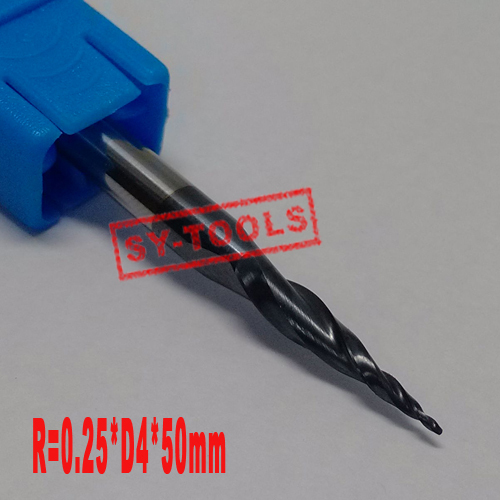 Free shipping-2PCS R0.25*D4*15*50L*2F HRC55 Tungsten solid carbide Coated Tapered Ball Nose End Mills taper and cone endmills  цены