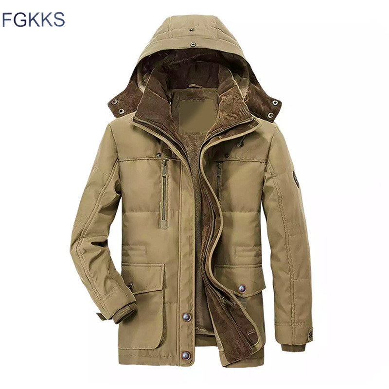 FGKKS Winter Men Parka Jacket Thicken Warm Solid Color Multi-Pocket Men Parka Hooded Outwear Man's Casual Parka Coat
