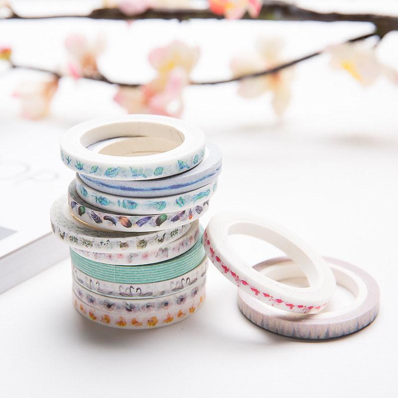 NOVERTY 1pc Animal Natural Washi Tape Feather Butterfly Slim Foil Masking Tape Kawaii Scrapbooking Stickers DIY Decoration 02501