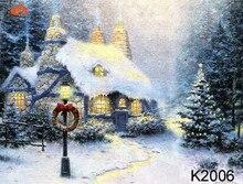 Pintados à Mão Muslin 10X20ft cenários De Natal, natureza paisagem da neve do inverno recém-nascidos Estúdio Fotografia de casamento Fundos K2006