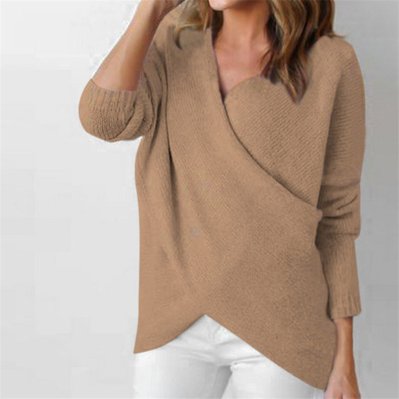 Women Sexy Sweater Deep V-Neck Solid Pullover Female Long Sleeve Casual Outwea Autumn Winter Chest Cross Fashion Tops