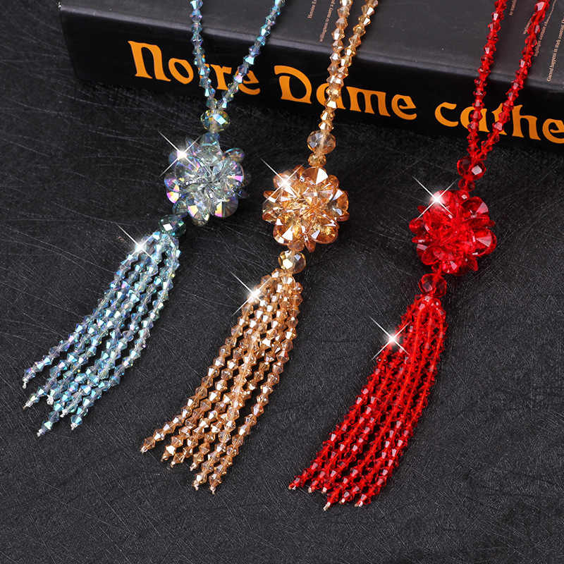 654a15c892b ... Heeda Korean Crystal Long Necklace Women Sweater Chain Fashion 2018 New  Kpop Beads Tassel Bijoux Shiny ...