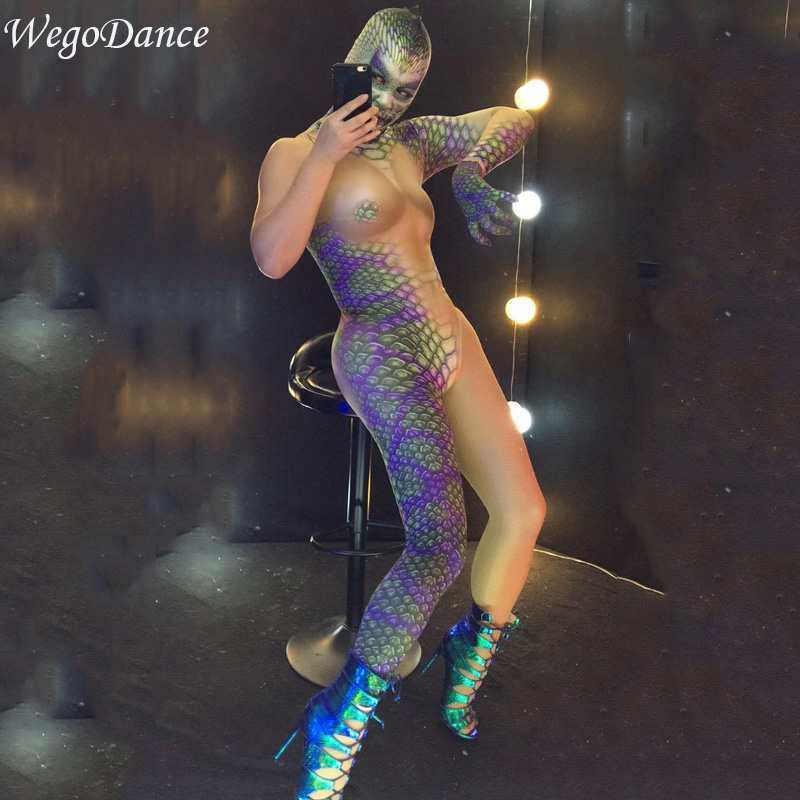 new snake pattern women gogo party show nightclub bar dance costume for women