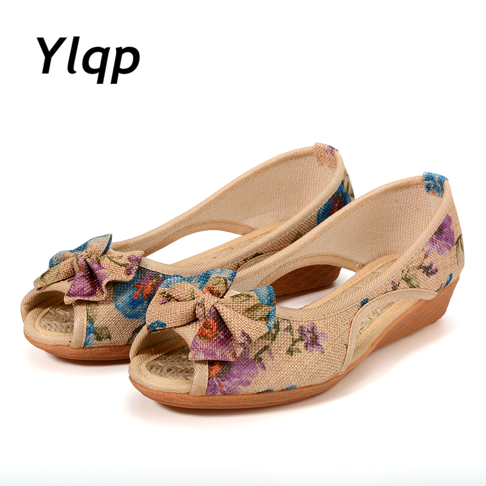 2019 Summer New Women Sandals Floral Print Peep Toe Woman Flats Flower Slip on Flat Shoes Open Toe Ladies Shoes Zapatos mujer