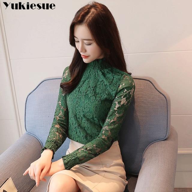 fashion woman blouses 2018 Spring summer Hollow Out Lace Women's tops Blouses Women blusas long sleeve Female shirt plus size 2