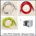 "Bathroom Colorful 1.5m Pvc Shower Hose  Red Green Silver For Choose G1/2"" Connector Tangle-free With ABS Shower Holder"