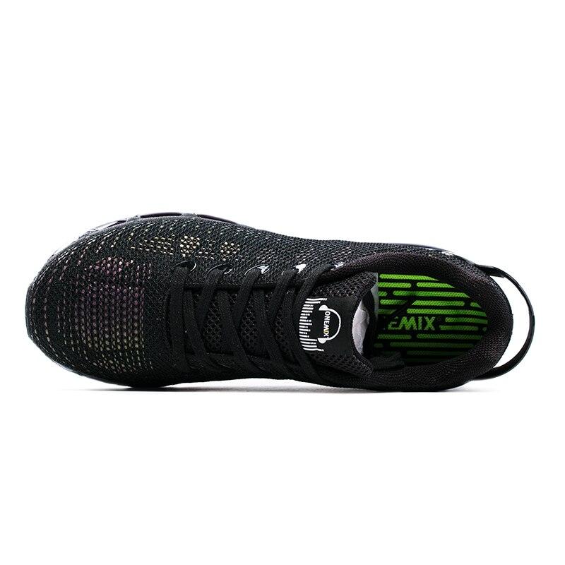 Zapatos corrientes onemix nueva llegada 2017 diseño de lengüeta athletic zapatos respirables del deporte zapatillas de deporte de aire para al aire libre negro de los hombres de las mujeres 1216a