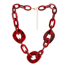 Olsen Twins Dropshipping Long Acrylic Resin Geometric Chunky Chain Necklaces for Women Costume Jewelry Gift цена