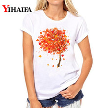2019 Summer Women T-shirt Colorful Tree 3D Print T Shirt Short Sleeve White Tee Round Neck Summer Tops graphic t shirts цена 2017
