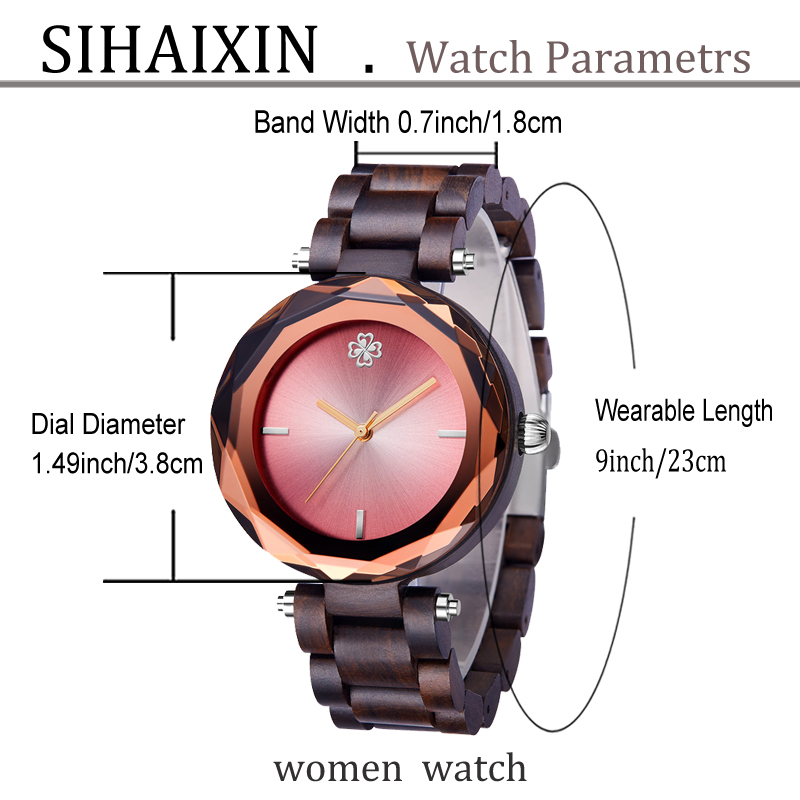 Sandalwood pink small women wooden watch for lady clock 33