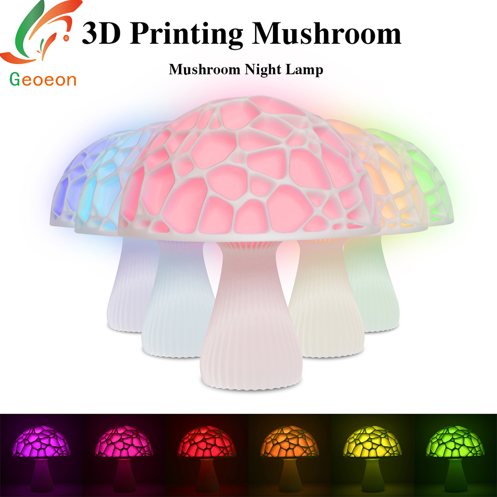3D Print Mushroom Bedside Night Moon Light Table lamp with Remote Change Touch Usb Colorful Decor Creative Gift Home Xmas D508