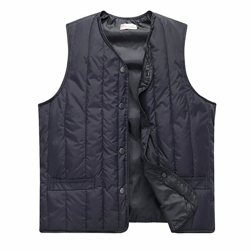 Man Quiited Puffer Vest Dark Blue Army Green Gilet Middle Aged Men Autumn Waistvest Elderly Grandpa Sleeveless Jacket Winter