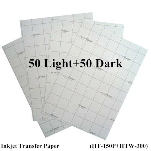 (100pcs=50pcs Light+50pcs Dark) Iron On Inkjet Heat Transfer Paper For Tshirt A4 Iron Clothes Stickers Thermal Transfer Papel