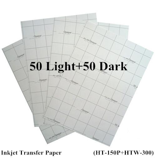 (100pcs=50pcs Light+50pcs Dark) Iron On Inkjet Heat Transfer Paper For Tshirt A4 Iron Clothes Stickers Thermal Transfer Papel