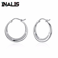 INALIS Luxurious Big Round Ear Hoop S925 Sterling Silver Micro Paved Clear Shining CZ Crystal Earrings for Women Brincos Jewelry