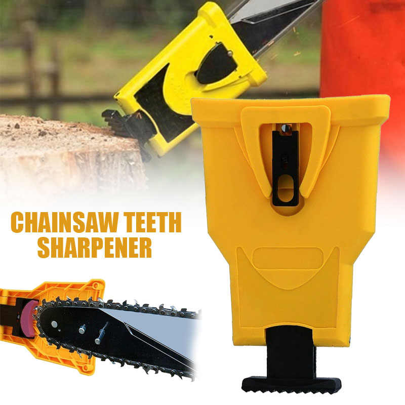 Yellow Portable Woodworking Chainsaw Saw Teeth Sharpener Sharpening Stone Frame Grinding Chain Tool Fast Sharpeners Tools
