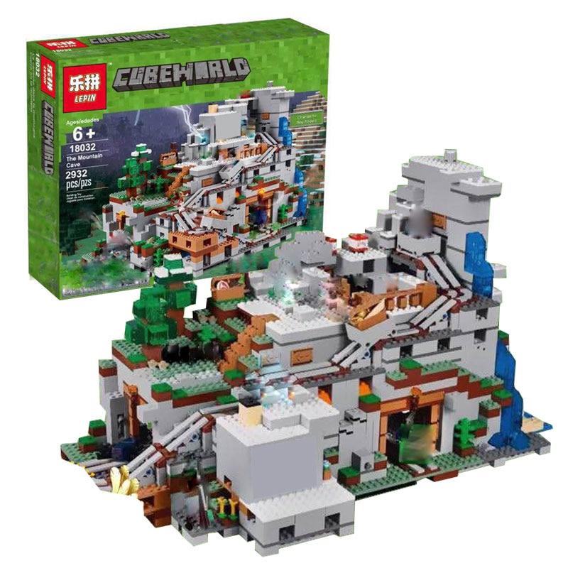 NEW DHL In Stock LEPIN 18032 Model Building Kit Blocks Bricks Miniecraft LEGOING The Mountain Cave My worlds with 21137 Toys теодор драйзер собрание сочинений в двенадцати томах том 6